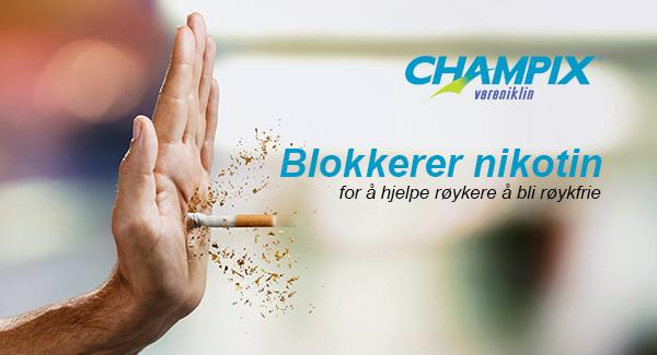 Champix blokkerer nikotinen, og reduserer følelsen av belønning ved røyking (1)